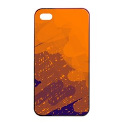 Orange And Blue Artistic Pattern Apple Iphone 4/4s Seamless Case (black) by Valentinaart