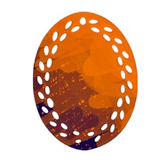 Orange And Blue Artistic Pattern Oval Filigree Ornament (2 Side)  by Valentinaart