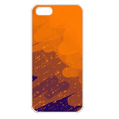 Orange And Blue Artistic Pattern Apple Iphone 5 Seamless Case (white) by Valentinaart