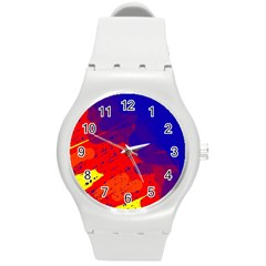Colorful Pattern Round Plastic Sport Watch (m) by Valentinaart