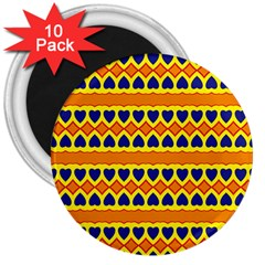 Hearts And Rhombus Pattern                                                                                          3  Magnet (10 Pack) by LalyLauraFLM