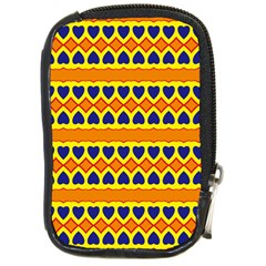 Hearts And Rhombus Pattern                                                                                          			compact Camera Leather Case by LalyLauraFLM