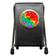 Colorful Abstract Design Pen Holder Desk Clocks by Valentinaart