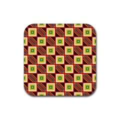Squares And Rectangles Pattern                                                                                          			rubber Square Coaster (4 Pack by LalyLauraFLM