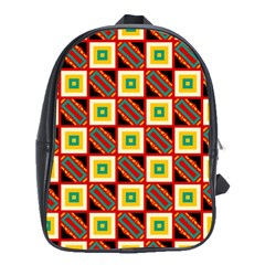 Squares And Rectangles Pattern                                                                                          			school Bag (large) by LalyLauraFLM