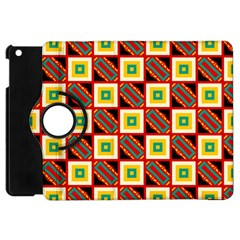 Squares And Rectangles Pattern                                                                                         			apple Ipad Mini Flip 360 Case by LalyLauraFLM