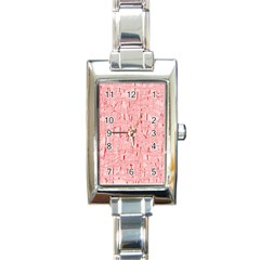 Elegant Pink Pattern Rectangle Italian Charm Watch by Valentinaart