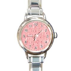 Elegant Pink Pattern Round Italian Charm Watch by Valentinaart