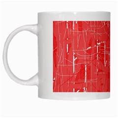 Red Pattern White Mugs by Valentinaart