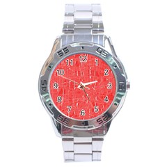 Red Pattern Stainless Steel Analogue Watch by Valentinaart