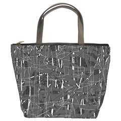Gray Pattern Bucket Bags by Valentinaart