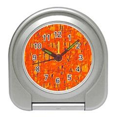 Orange Pattern Travel Alarm Clocks by Valentinaart