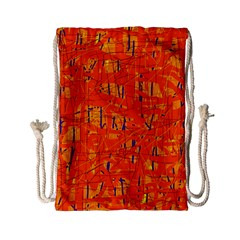 Orange Pattern Drawstring Bag (small) by Valentinaart