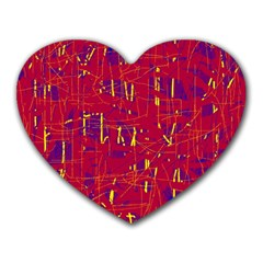 Red And Blue Pattern Heart Mousepads by Valentinaart