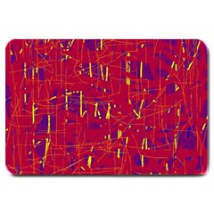 Red And Blue Pattern Large Doormat  by Valentinaart