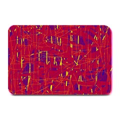 Red And Blue Pattern Plate Mats by Valentinaart