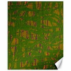 Green Pattern Canvas 11  X 14   by Valentinaart