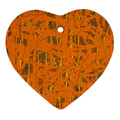 Orange Pattern Ornament (heart)  by Valentinaart