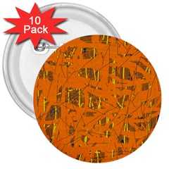 Orange Pattern 3  Buttons (10 Pack)  by Valentinaart