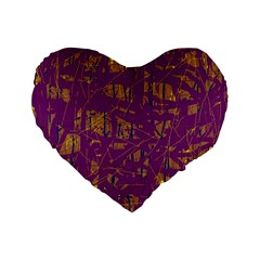 Purple Pattern Standard 16  Premium Flano Heart Shape Cushions by Valentinaart