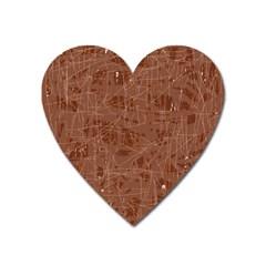Brown Pattern Heart Magnet by Valentinaart