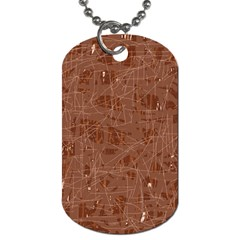 Brown Pattern Dog Tag (two Sides) by Valentinaart