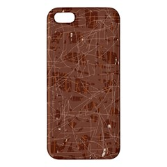 Brown Pattern Apple Iphone 5 Premium Hardshell Case by Valentinaart