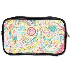 Hippie Flowers Pattern, Pink Blue Green, Zz0101 Toiletries Bags 2 Side by Zandiepants