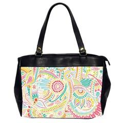 Hippie Flowers Pattern, Pink Blue Green, Zz0101 Office Handbags (2 Sides)  by Zandiepants