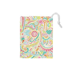 Hippie Flowers Pattern, Pink Blue Green, Zz0101 Drawstring Pouches (small)  by Zandiepants