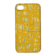 Yellow Pattern Apple Iphone 4/4s Hardshell Case With Stand by Valentinaart