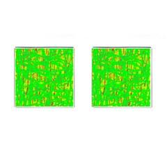 Neon green pattern Cufflinks (Square) by Valentinaart