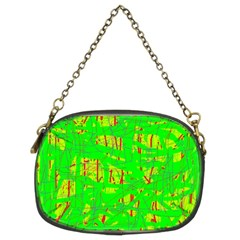Neon Green Pattern Chain Purses (two Sides)  by Valentinaart