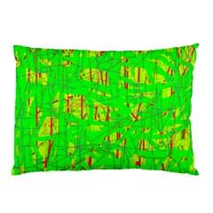 Neon Green Pattern Pillow Case by Valentinaart