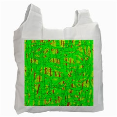 Neon Green Pattern Recycle Bag (one Side) by Valentinaart