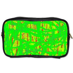 Neon Green Pattern Toiletries Bags by Valentinaart