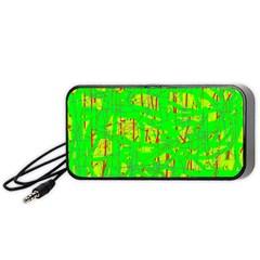 Neon Green Pattern Portable Speaker (black)  by Valentinaart