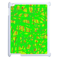 Neon Green Pattern Apple Ipad 2 Case (white) by Valentinaart