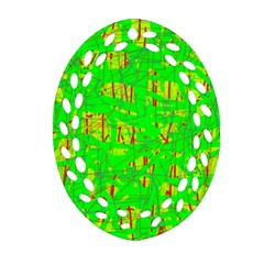 Neon Green Pattern Ornament (oval Filigree)  by Valentinaart