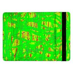 Neon Green Pattern Samsung Galaxy Tab Pro 12 2  Flip Case by Valentinaart