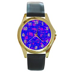 Blue Pattern Round Gold Metal Watch by Valentinaart