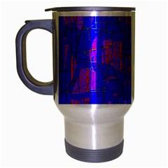 Blue Pattern Travel Mug (silver Gray) by Valentinaart