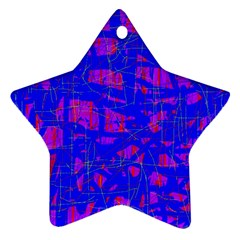 Blue Pattern Star Ornament (two Sides)  by Valentinaart