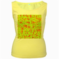 Yellow And Orange Pattern Women s Yellow Tank Top by Valentinaart