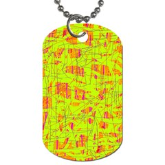 Yellow And Orange Pattern Dog Tag (two Sides) by Valentinaart