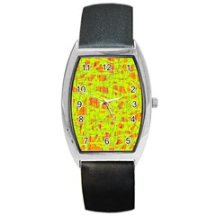 Yellow And Orange Pattern Barrel Style Metal Watch by Valentinaart