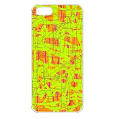 Yellow And Orange Pattern Apple Iphone 5 Seamless Case (white) by Valentinaart