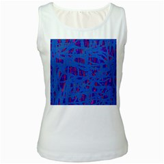 Deep blue pattern Women s White Tank Top by Valentinaart
