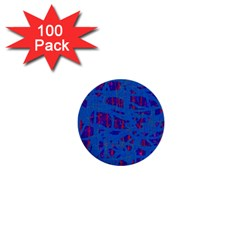 Deep Blue Pattern 1  Mini Buttons (100 Pack)  by Valentinaart