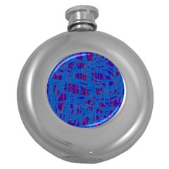 Deep blue pattern Round Hip Flask (5 oz) by Valentinaart